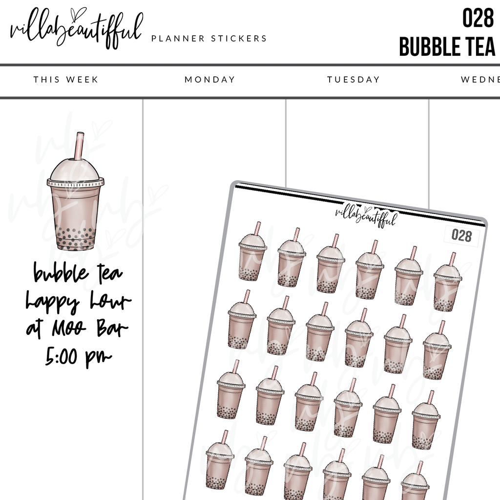 028 Bubble Tea Planner Stickers
