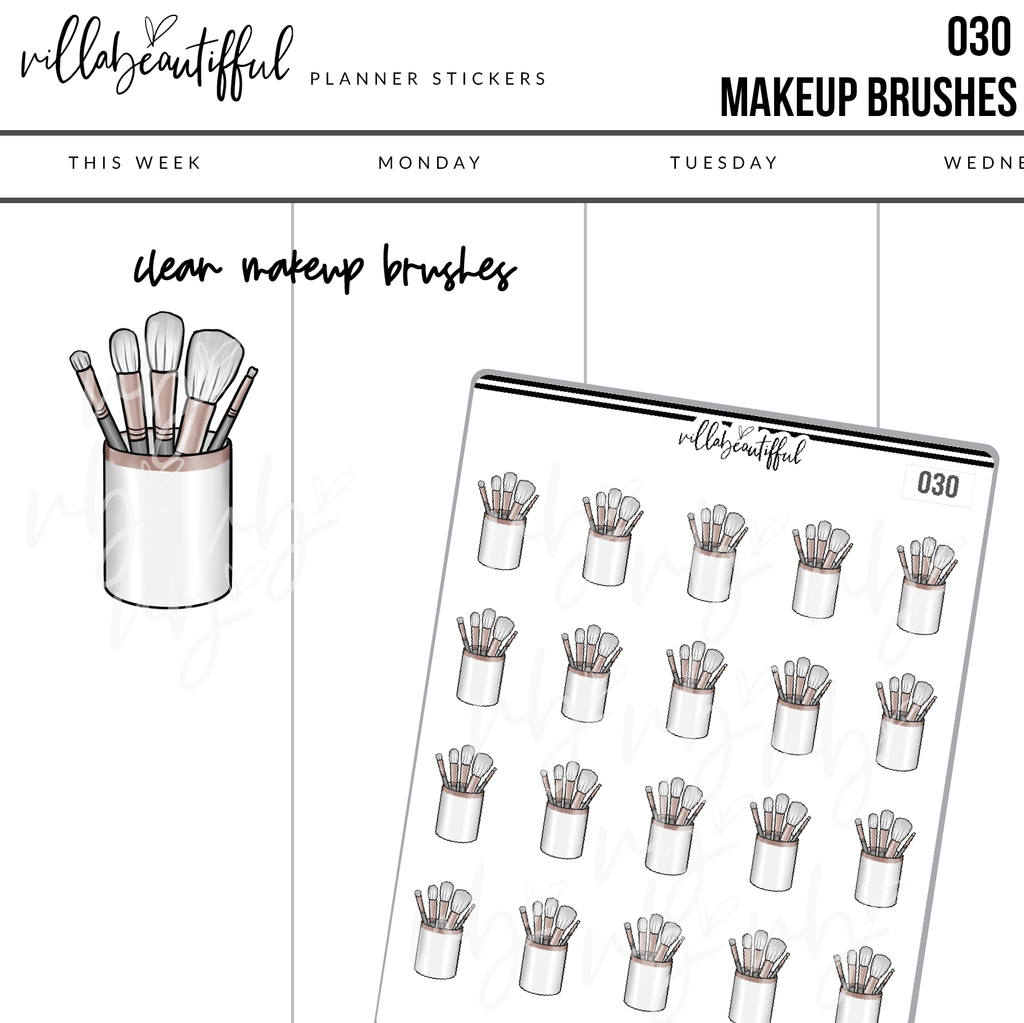 030 Makeup Brushes Planner Stickers