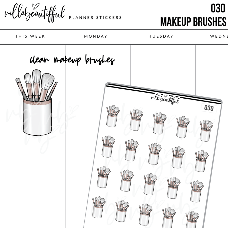 030 Makeup Brushes Sticker Sheet