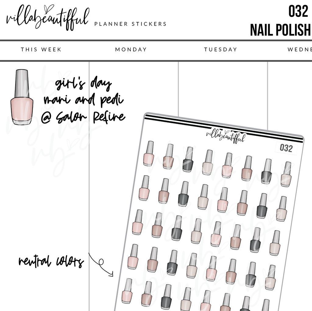 032 Nail Polish Planner Stickers