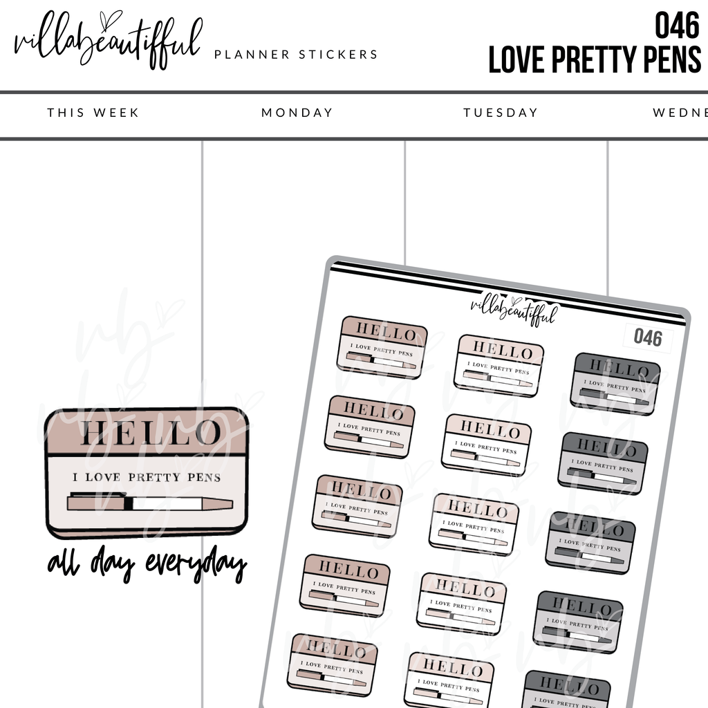 046 Hello Pretty Pens Sticker Sheet