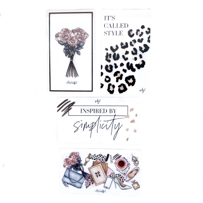 Fashionista Transparent Mini Sticker Set + Cards