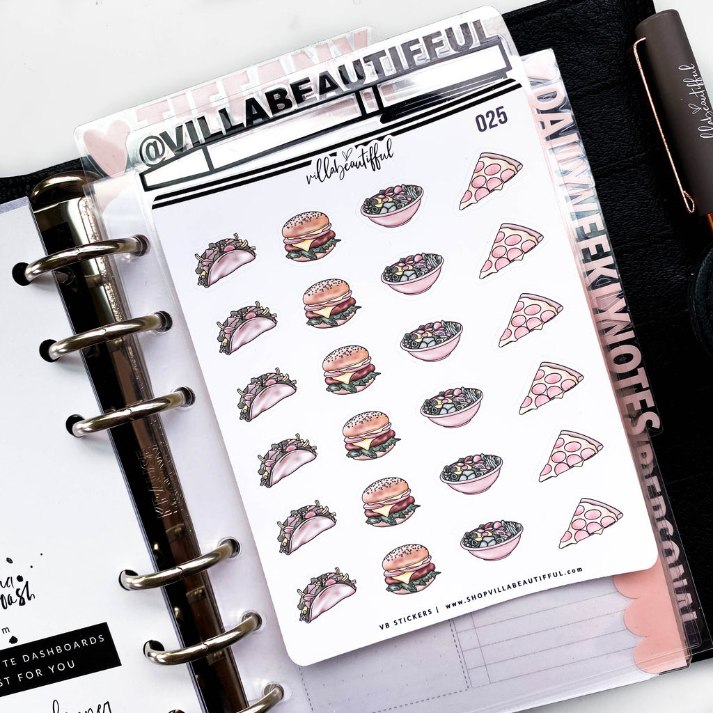 025 Food Set 1 Planner Stickers