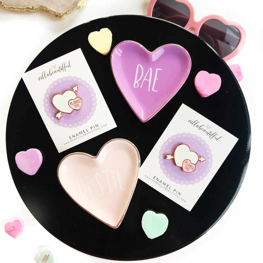 Heart Planner Girl  Enamel Pin