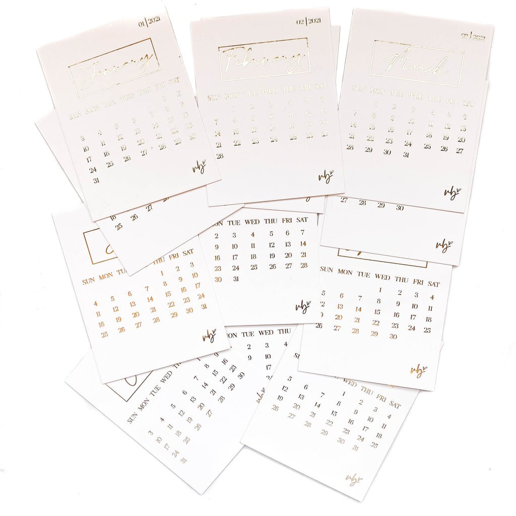 2021 Foiled Calendar Cards