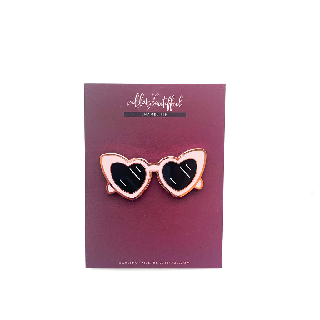 Retro Heart Shades Enamel Pin