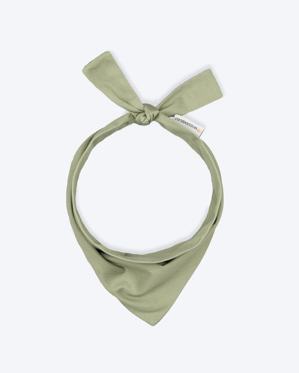 Olive green bandana for cats and dogs. pre-folded and offers longer ends to perfectly and easily tie. 100% Cotton