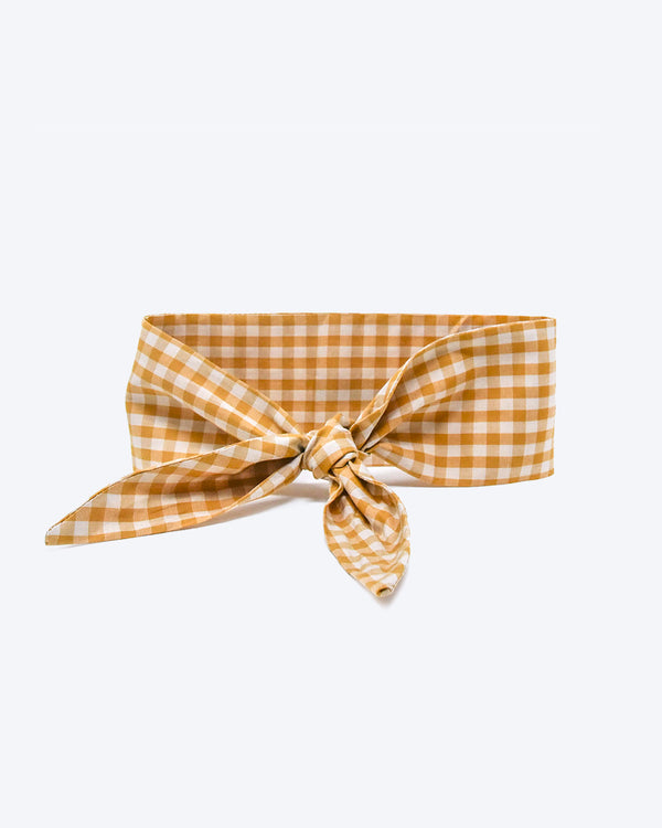 Dark yellow gingham necktie for dogs and cat. Like a rolled bandana but less fuss.