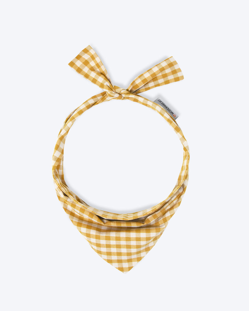 Dark yellow gingham bandana for cats and dogs. pre-folded and offers longer ends to perfectly and easily tie. 100% Cotton