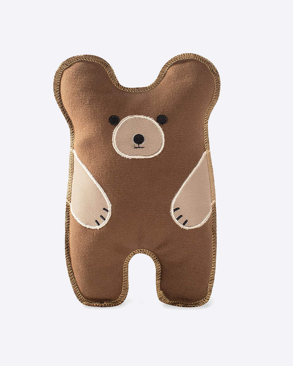 CANVAS BEAR DOG TOY BY FRINGE STUDIO. CUTE BEAR DESIGN AND HAS A SQUEAKER.