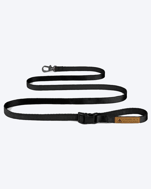 BLACK EASY DOG LEASH BY CHARLIES BACKYARD. ADJUSTABLE