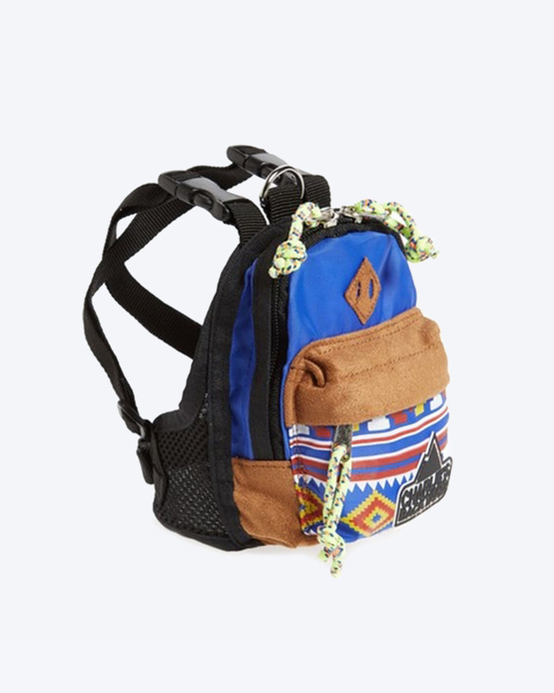 CHARLIES BACKPACK BY CHARLIE'S BACKYARD. BLUE DOG BACKPACK WITH HARNESS STRAPS. SMALL, MEDIUM, LARGE.