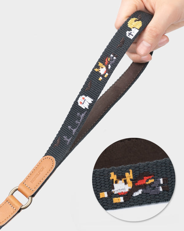 Dog leash and dog harness with superhero dog embroidered. Charcoal and black color.