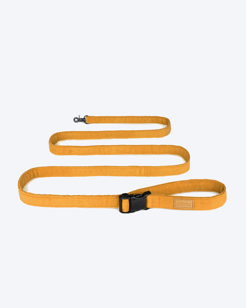 Yellow/Mustard dog leash. Strong leash, corduroy.