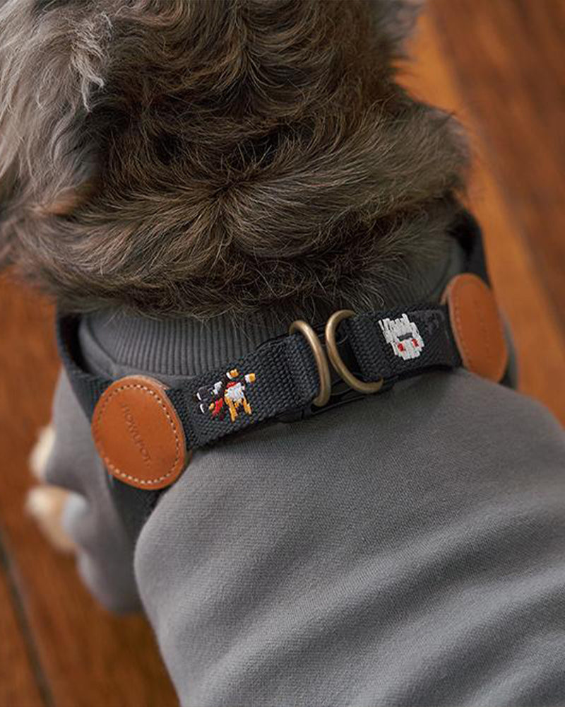 Dog harness with superhero dog embroidered. Charcoal and black color.