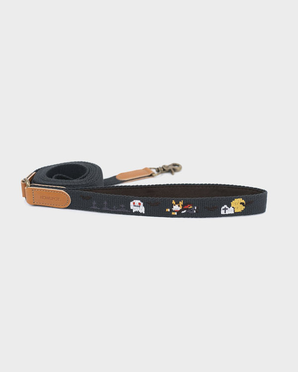 Dog leash and dog harness with superhero dog embroidered. Mustard and yellow color. On a French Bulldog