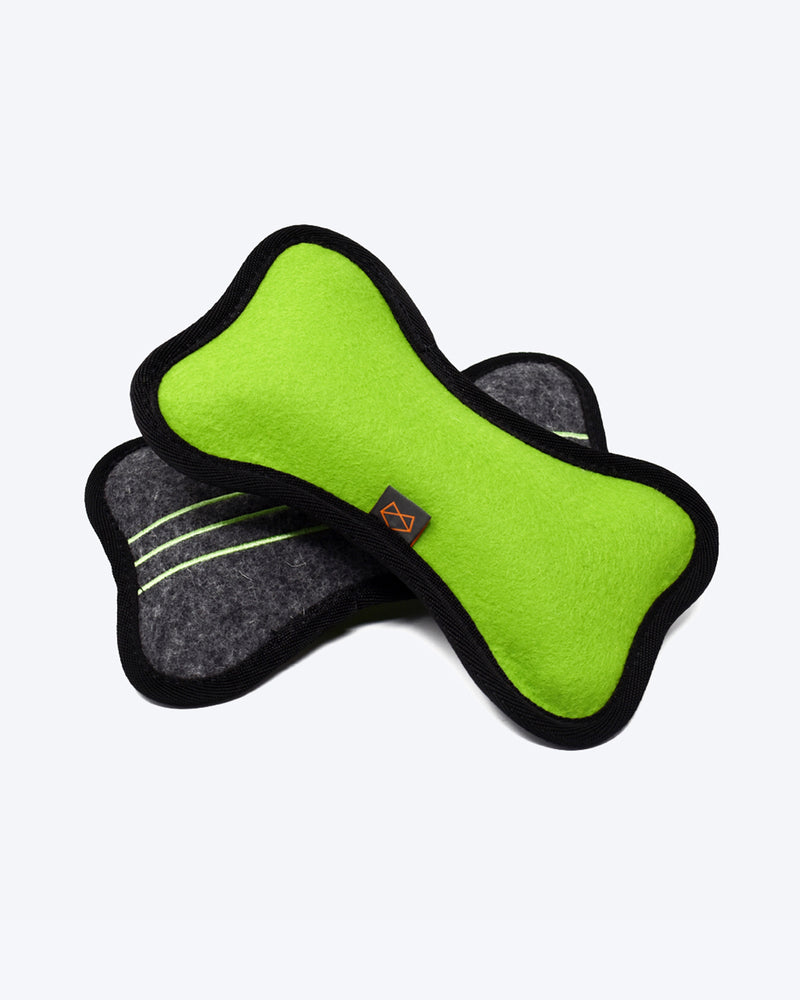 Plush tough dog toy made out of wool felt with 4 squeakers. Green and Charcoal.