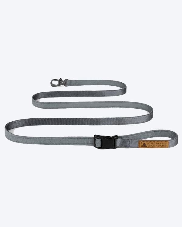 GREY EASY DOG LEASH BY CHARLIES BACKYARD. ADJUSTABLE
