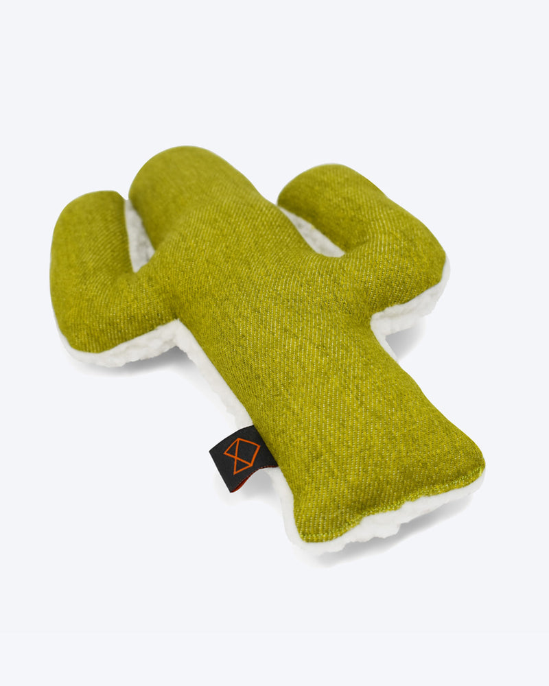 Plush Cactus shaped dog toy filled with organic mint and crinkle.
