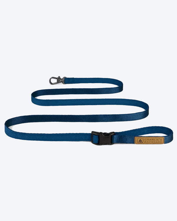 NAVY EASY DOG LEASH BY CHARLIES BACKYARD. ADJUSTABLE
