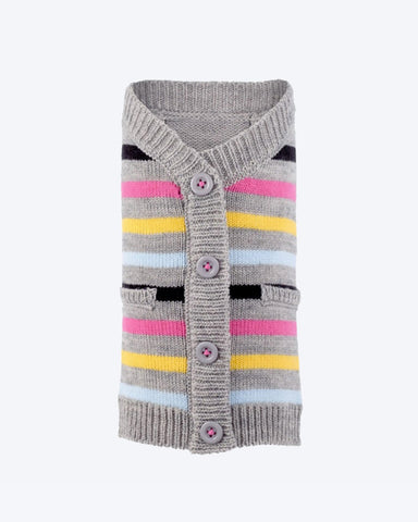 Pink Striped Cardigan by Worthy Dog