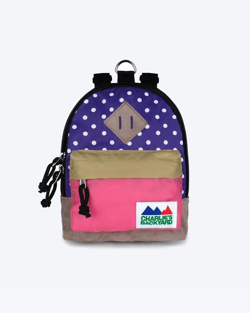CHARLIES BACKPACK BY CHARLIE'S BACKYARD. PURPLE POLKADOT AND PINK DOG BACKPACK WITH HARNESS STRAPS. SMALL, MEDIUM, LARGE.