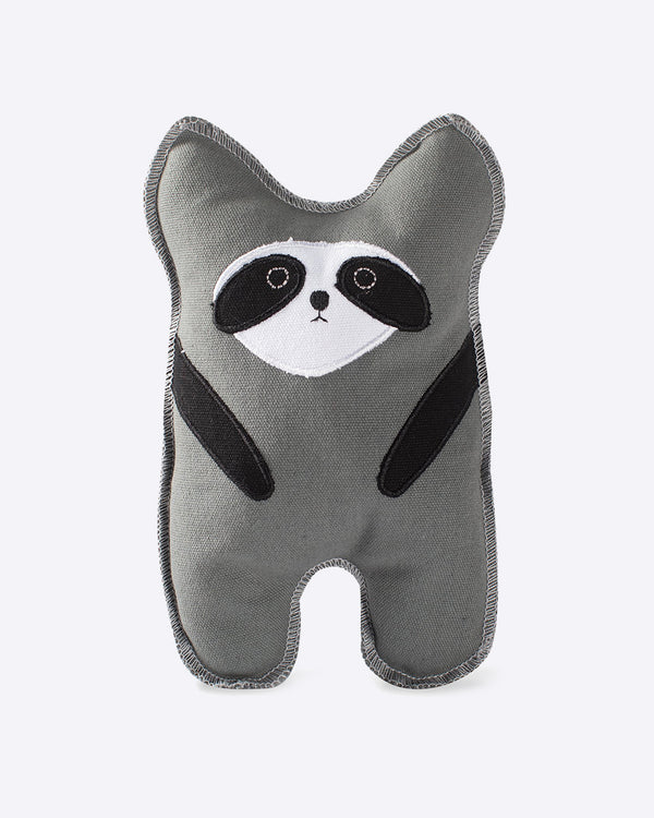 FRINGE CANVAS RACCOON DOG TOY. GREY, BLACK, WHITE RACCOON WITH SQUEAKER FOR DOG.