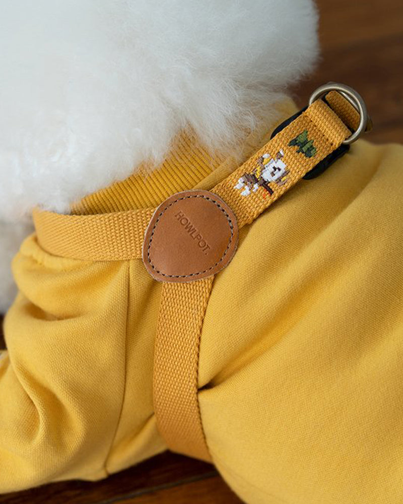 Dog harness with superhero dog embroidered. Mustard and yellow color.