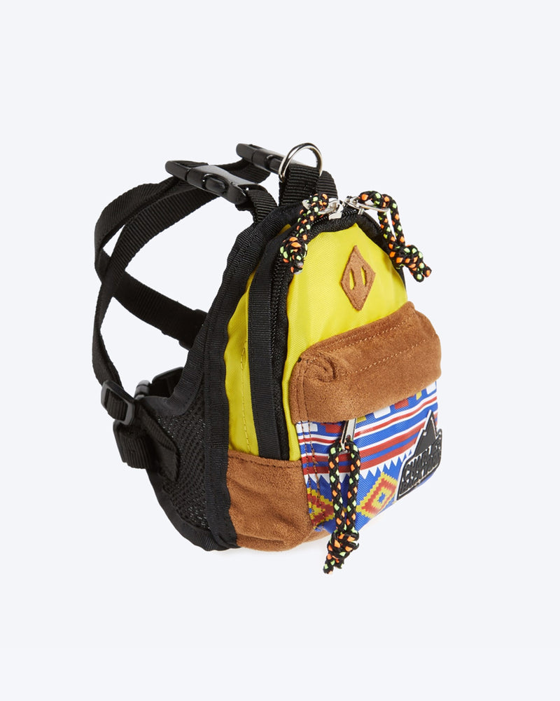 CHARLIES BACKPACK BY CHARLIE'S BACKYARD. YELLOW DOG BACKPACK WITH HARNESS STRAPS. SMALL, MEDIUM, LARGE.