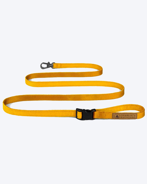 YELLOW/MUSTARD EASY DOG LEASH BY CHARLIES BACKYARD. ADJUSTABLE