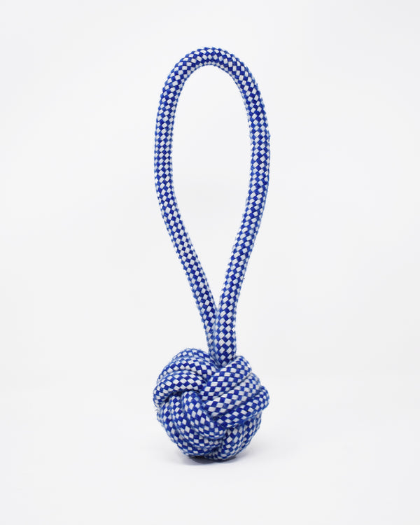 Blue and white rope knot dog toy with a handle