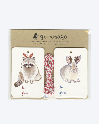HOLIDAY ANTLERS ANIMAL GIFT TAGS by Gotamago