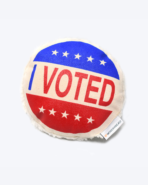 I Voted Sticker Canvas Dog Squeaker Toy