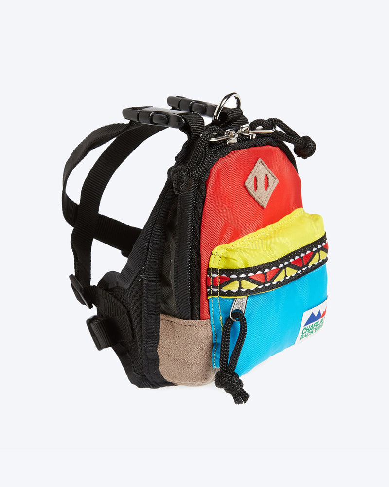 CHARLIES BACKPACK BY CHARLIE'S BACKYARD. RED, YELLOW, BLUE DOG BACKPACK WITH HARNESS STRAPS. SMALL, MEDIUM, LARGE.