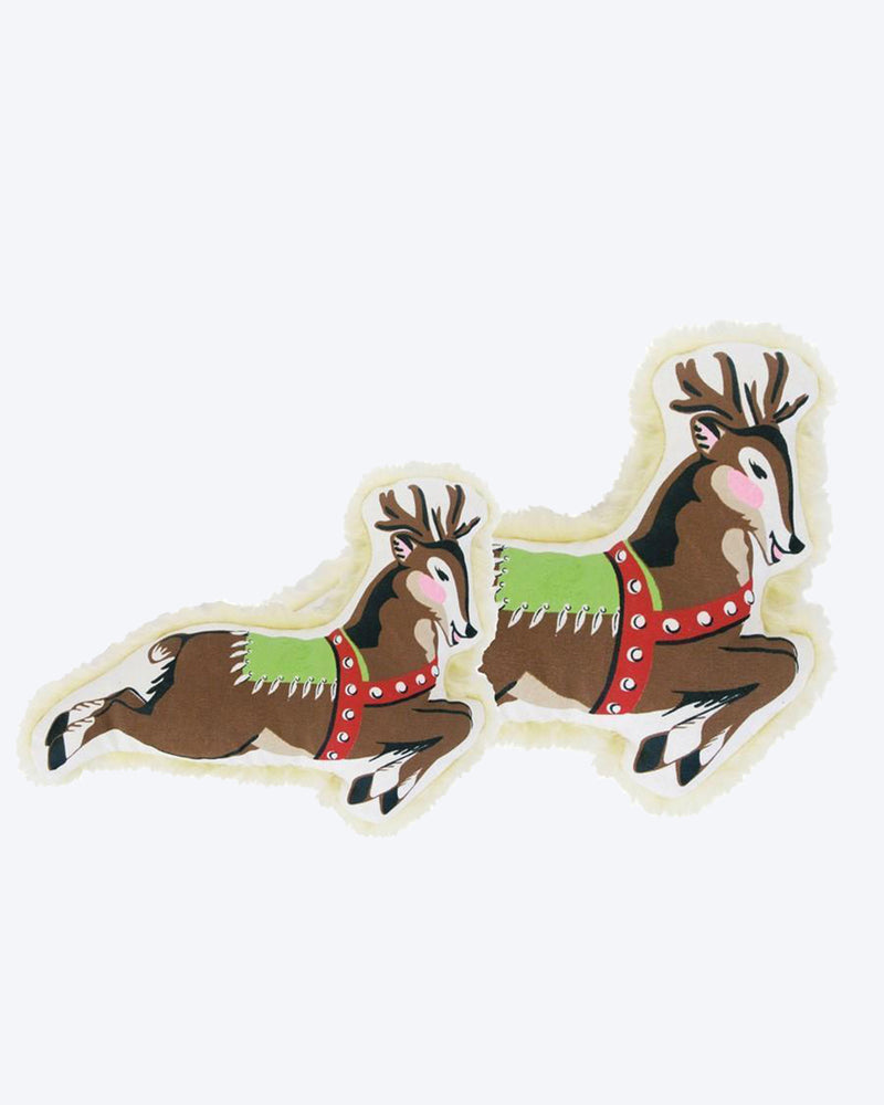 Reindeer canvas squeaker dog toy with a faux fur back.