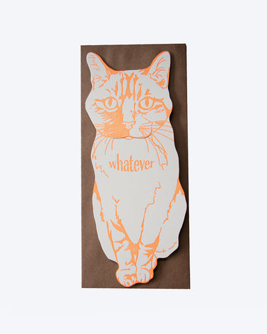 Whatever Cat Card by  Blackbird Letterpress