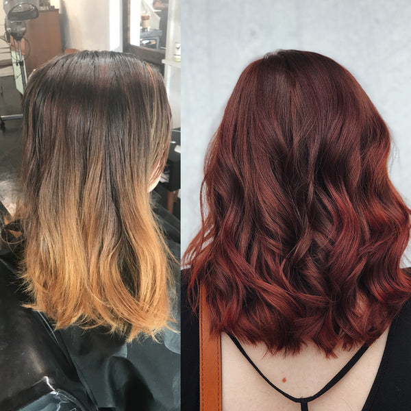 Faded Brown Amp Copper Balayage To Deep Ruby Red For Fall