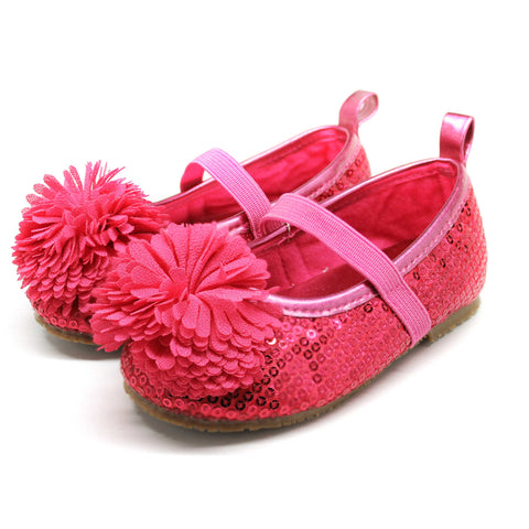 Stepping Stones Pom Pom Shoe in Fuchsia