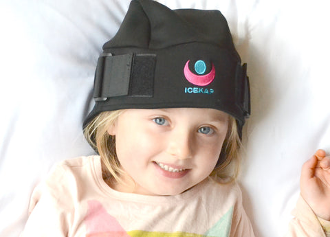 ICEKAP Delux 2.0  for kids under 10!  Cooling and warming compress cap for headaches and migraines. In Stock in the USA, will be back in stock Oct 1 in Canada.