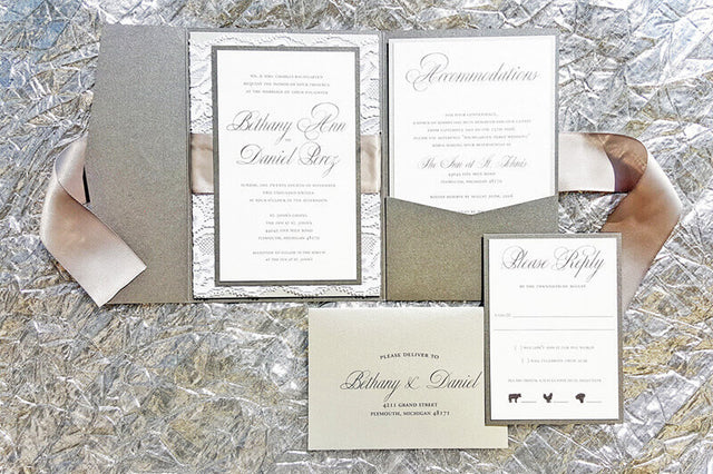Lace and Ribbon Wedding Invitation