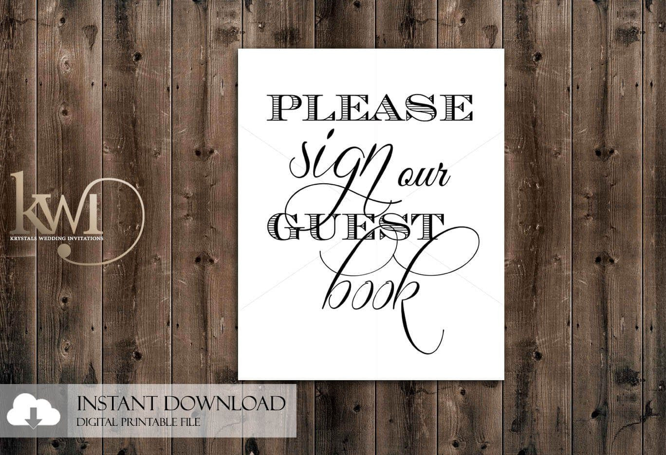 DIY Printables - 8x10 - Please Sign our Guest Book Sign - Krystals Wedding Invitations