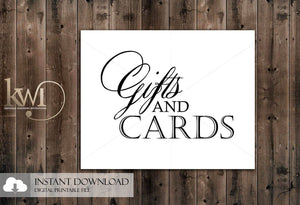 DIY Printables - 8x10 - Gifts and Cards Sign - Krystals Wedding Invitations