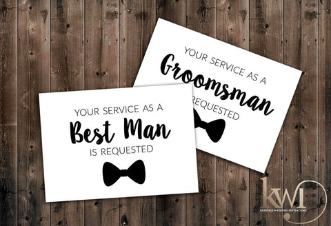 Your Service is Requested - Be My Groomsman Cards