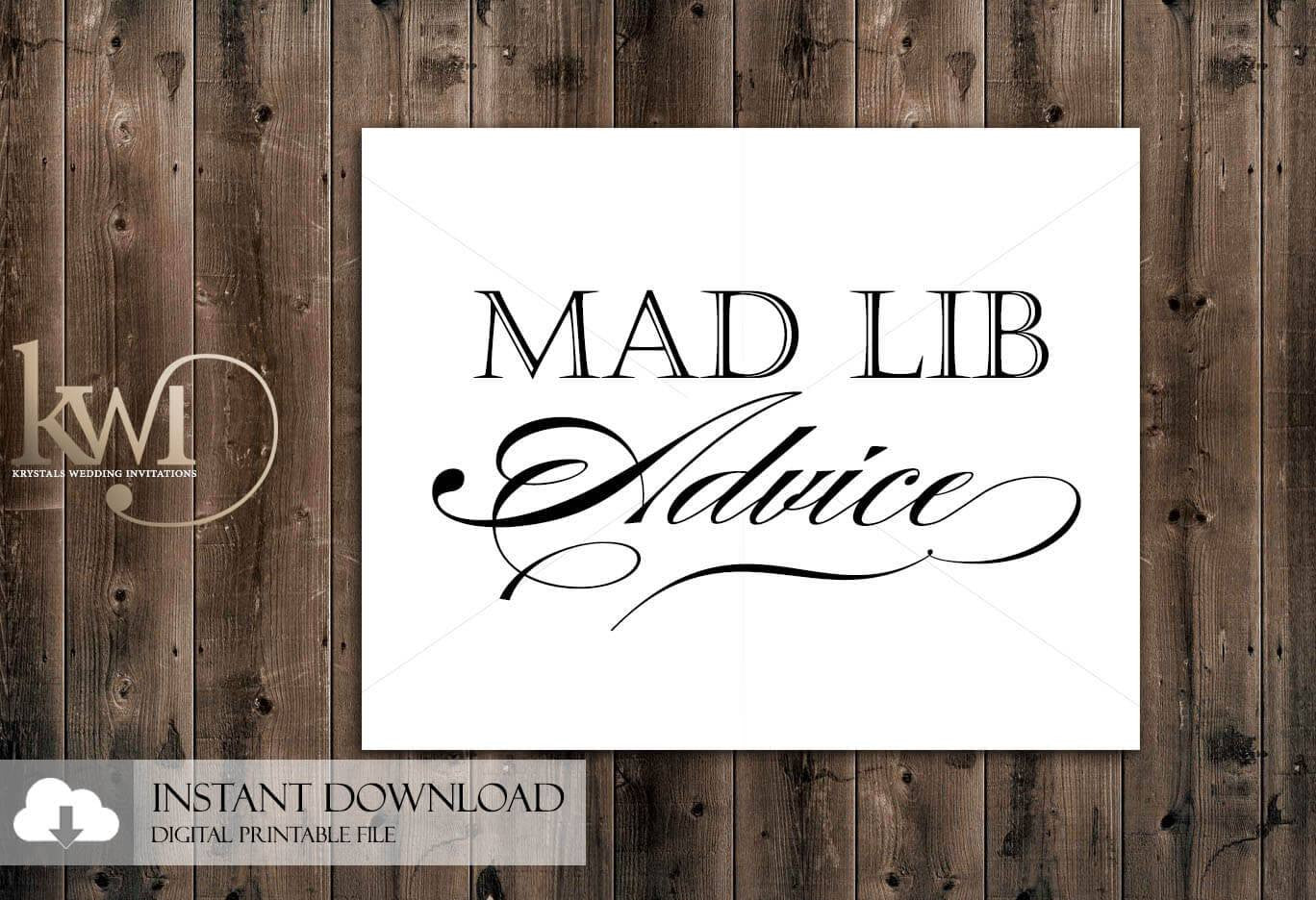 DIY Printables - 8x10 - Mad Lib Advice Sign - Krystals Wedding Invitations