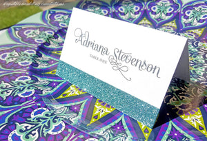 Glitter Wedding Place Cards - Krystals Wedding Invitations