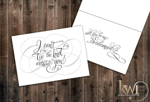 I Can't Tie the Knot Without You Whimsical Style - Be My Bridesmaid Cards - Krystals Wedding Invitations