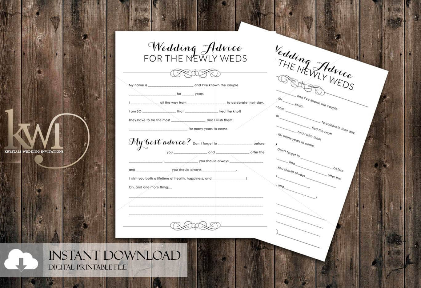 wedding advice cards diy printables instant download