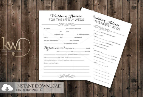 DIY Printables - Wedding Advice Cards for the Newly Weds - Krystals Wedding Invitations