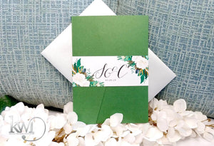 Modern Floral Watercolor Wedding Invitations