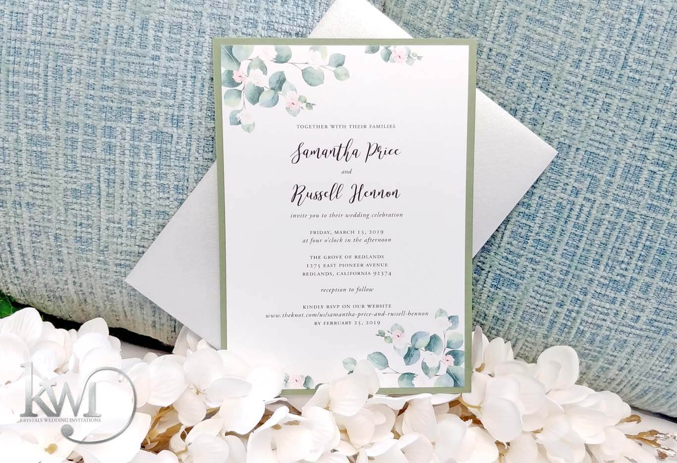 Simple Floral Wedding Invitation Suite